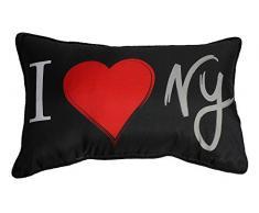 Douceur dInterieur I love NYC - Cojín (30 x 50 cm, microfibra), diseño estampado con mensaje I love NYC, multicolor
