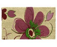HMT 147604 Fleurs - Felpudo (fibra de coco, 45 x 75 cm), diseño de flores, color rosa