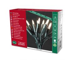 Konstsmide 6304-100 - Mini guirnalda de bombillas LED (100 diodos blancos, 230 V, para interiores, cable verde), diseño retro