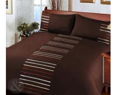 Just Contempo - Juego de funda nórdica y funda de almohada (poliéster), diseño a rayas, poliéster, marrón oscuro, funda de edredón cama individual (infantil)