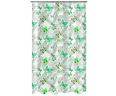 Spirella colección Papillons, Cortina de Ducha Textil 180 x 200, 100% Polyester, Verde, Tela, x cm
