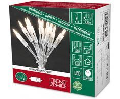 Konstsmide Mini guirnalda de bombillas LED, Navidad, con interruptor, 10 diodos de luz blanca cálida, 230 V, interior, cable transparente 6300-123