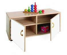 Mobeduc 600104HPS23 - Mueble infantil superbajo/armario con 4 casillas, madera, color haya y blanco, 90 x 40 x 44 cm