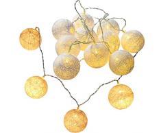 WeRChristmas – 10 blanco cálido bola de algodón LED cadena de luces de Navidad – blanco