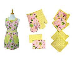Costa del Pacífico Textiles estándar búho Delantal, algodón, Multicolor, Set de 9