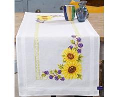 Vervaco–Kit para cojín Girasoles Camino de Mesa Bordado, 100% algodón, Multicolor