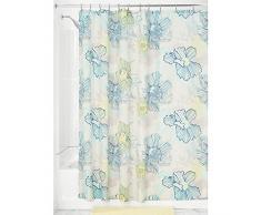 InterDesign Elsa SC Cortina de baño | Cortina para bañera o plato de ducha, 183 x 183 cm | Preciosa cortina de ducha con estampado de flores pastel | Poliéster de colores/azul