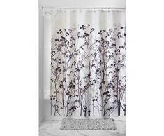InterDesign Freesia SC Cortina de baño con estampado floral | Cortina de ducha de fijación firme | Cortinas para bañera o plato de ducha, 183 x 183 cm | Poliéster negro/gris topo