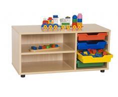 Mobeduc 600111HP18 - Mueble infantil superbajo/estantería y cubetero, madera, color haya, 90 x 40 x 44 cm