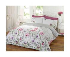 Just Contempo - Juego de funda nórdica y dos fundas de almohada, diseño reversible con motivo floral, multicolor, mezcla de algodón, rosa/morado/verde, cama individual (single)