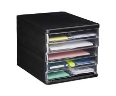 Relaxdays, Negro, 24,5 x 26,5 x 34 cm Oficina Organizador Escritorio con 5 Cajones, Plástico, PP