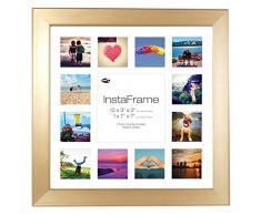 Inov8 16 x 40,64 cm Insta-Frame Marco para Instagram 13/de Estampado a Cuadros de Fotos con paspartú Blanco y Blanco con Borde, Bronce