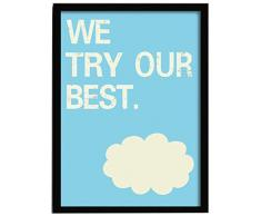 LO+DEMODA HCN2108-87 - Cuadro con marco, diseño We try our best, 33 x 43 cm, multicolor