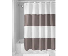 InterDesign Zeno Cortinas de baño de tela, Cortina de ducha impermeable a rayas, Cortina de baño lavable en un tamaño de 183,0 cm x 183,0 cm, Poliéster topo oscuro/blanco