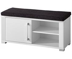 Paul OGWW153060 ropa para banco, aproximadamente 90 x 40 x 36 cm, blanco con cojín gris