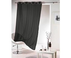 DOUCEUR DINTERIEUR 140 x 240 cm poliéster cortina traslúcida con arandelas de pelo de marta bandas de chenilla Mirano Noir, negro