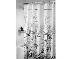 InterDesign Anzu Cortina de ducha | Cortina de baño lavable a máquina de 180 x 200 cm | Cortinas modernas con estampado floral para bañera o plato de ducha | Poliéster gris