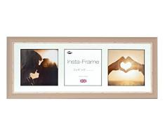 Inov8 21 x 20,32 cm tamaño pequeño Insta-Frame Marco para Instagram 3/de estampado a cuadros de fotos con paspartú blanco y blanco con borde, se debe lavar a suave piedra