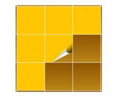 Adhesivo para azulejos para baño y cocina – 20 x 20 cm – amarillo mate – 20 adhesivos para azulejos para pared azulejos