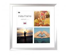 Inov8 16 x 40,64 cm Insta-Frame Marco para Instagram 4/de Estampado a Cuadros de Fotos con paspartú Blanco y Blanco con Borde, 2 Unidades, Plateado