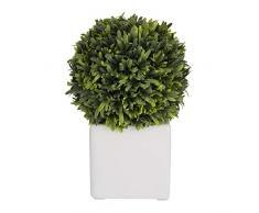 Aufora - Planta Artificial en Maceta Cuadrada Blanca, Blanco, Verde, 22 cm
