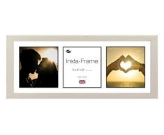 Inov8 21 x 20,32 cm Insta-Frame Marco para Instagram 3/de Estampado a Cuadros de Fotos con paspartú Blanco y Negro con Borde, Gris