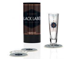 RIZENHOFF Black Label - Vaso de chupito (cristal, 40 ml, con cinco tapas)