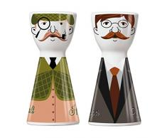 RITZENHOFF 1710065Mr. Salt y Mrs. Pepper–Salero y pimentero, Porcelana, Multicolor, 3.6x 3.6x 7.5cm