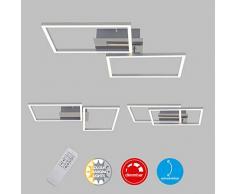 Briloner Leuchten LED, lámpara de Techo Regulable, Incluye Remoto, Control de Color de Temperatura, función de luz Nocturna y Temporizador, Cromo-Aluminio, 500 x 388 x 78 mm