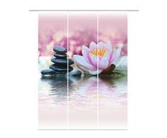 Home Fashion 88762-123 - Cortina 3-juego de agua de lirio de tela con impresión digital, 100% de poliéster, diseño de rosa, 245 x 60 cm
