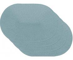 Venilia Salvamanteles Azul, Mantelería, Mantel Individual para el Comedor, Oval, 4 tajada, 45 x 30 cm, 59115, WOV Spiral Blue ov, 30 x 45 cm