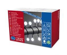 Konstsmide 3696-207 - Guirnalda de esferas led (80 diodos de luz blanca fría, transformador exterior de 24 V, cable negro)