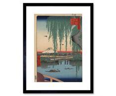 Wee Blue Coo Utagawa Edo 062 - Cuadro con Marco para Pared (100 Vistas), Color Azul