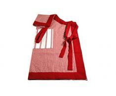 Campagne Table Linen Delantal, algodn, color rojo y blanco