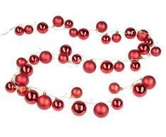 Guirnalda con 40 bolas de Navidad rojas y 80 LED en blanco cálido, para Navidad, decoración, luz de ambiente, aprox. 2 m