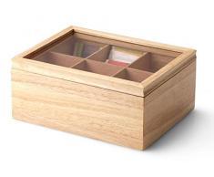Continenta Caja para té de madera de árbol de caucho con 6 compartimentos, bolsas de té Caja, caja de té té Joyero, tamaño: 23 x 17,5 x 10 cm