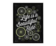 LO+DEMODA HCN2142-87 - Cuadro con marco, diseño Life is a beautiful ride, 33 x 43 cm, multicolor