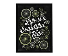 LO+DEMODA HCN2142-87 - Cuadro con marco, diseño Life is a beautiful ride, 33 x 43 cm, multicolor