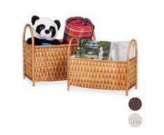 Relaxdays Set de Dos Cajas de almacenaje, Multi-usos, Almacenamiento de revistas, Bambú, Hecho a Mano, Marrón Claro Cesta, 10 l / 20 l