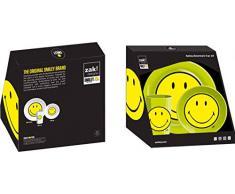 zak! designs 6662 Smiley - Vajilla infantil (3 piezas), melamina, verde, 22 x 9,5 x 22,5 cm