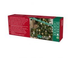 Konstsmide 1177-000 - Iluminación para árbol de Navidad (sensor de luz, programador de 6 h, 20 diodos de color blanco cálido, funciona con 3 pilas AA de 1,5 V no incluidas, cable verde)