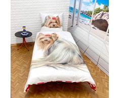 Faro Yorkshire perro cachorro Best Friends – Juego de cama, funda nórdica de 160 x 200 Cama individual 100% algodón ropa de cama, más colores, 200 x 160 cm