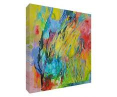 Feel Good Art Original galería envuelto jardín abstracto caja lienzo con sólido Panel frontal por artista Valerie Johnson, multicolor, tamaño grande, 60 x 40 x 4 cm