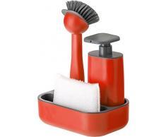 Vigar Set Fregadero con Dosificador de Jabón, ABS, Rojo, 19x13x26,5 cm