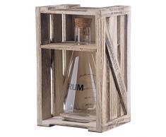 Artland Decantador Mezclador de 295 ml para Vermut, Triple Sec y Amargos, en Caja de Regalo de Madera, tamaño Mediano, Vidrio, Transparente, 12 x 12 x 22.5 cm