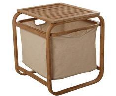 DRW Taburete de Madera bambú con cesto de Tela Lino en Crudo 45x45x50cm