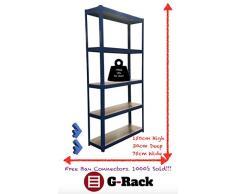 75 cm de ancho azul cobertizo garaje utilidad bastidores de almacenamiento de efecto invernadero bahías estantería 875 kg capacidad, libre bahía conectores, 5 años de garantía