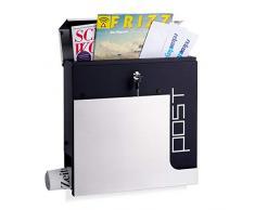 dise/ño Moderno 36,5 x 37 x 10,5 cm Acero Inoxidable Relaxdays 10020769/_49 Buz/ón con Compartimiento para Diarios y Placa con Nombre Blanco