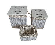 JVL-Cesto Rectangular de Mimbre geométrico Ropa y cestas de Almacenamiento con revestimientos, Mimbre y Madera, Gris, 43x 43x 49cm