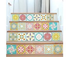 Walplus WT1521 - Adhesivos Decorativos para Pared (15 x 15 x 24 cm), diseño de Azulejos de Colores de Malia, 15 x 15 x 0,02 cm